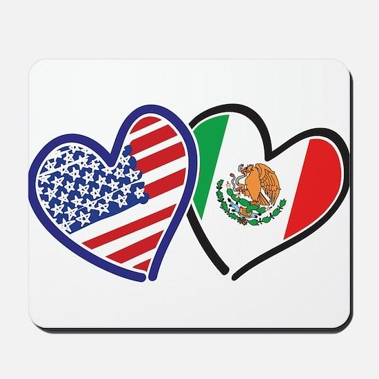 USA Mexico Heart Flag Mousepad