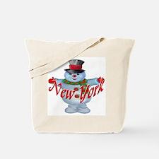 New York Snowman Tote Bag