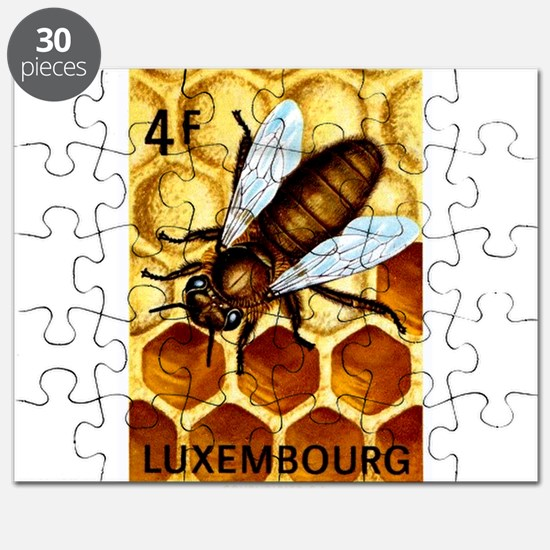 Vintage 1973 Luxembourg Bee Postage Stamp Puzzle