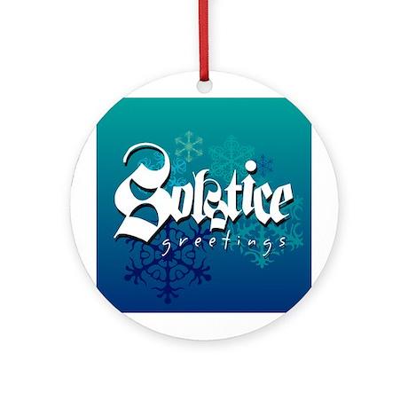 """""""Solstice Greetings"""" Dark Blue ornament"""