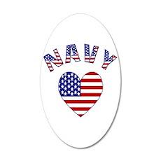Navy USA Heart Wall Decal