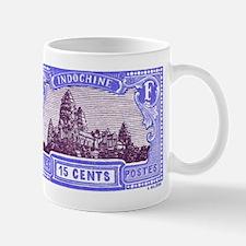 Antique 1927 Cambodia Angkor Wat Postage Stamp Mug