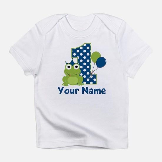 1st Birthday Frog Blue Infant T-Shirt