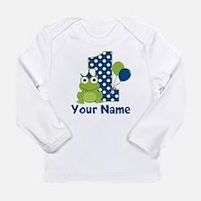 1st Birthday Frog Blue Long Sleeve T-Shirt