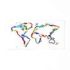 Watercolor World Map Aluminum License Plate