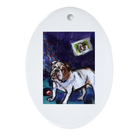 English Bulldog snowman Oval Ornament