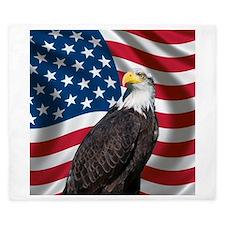 USA flag with bald eagle King Duvet