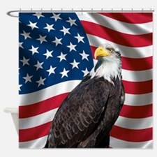 USA flag with bald eagle Shower Curtain