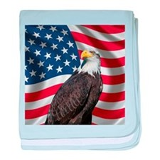 USA flag with bald eagle baby blanket