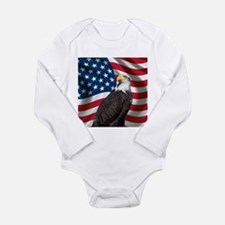 USA flag with bald eagle Body Suit