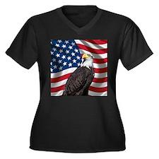 USA flag with bald eagle Plus Size T-Shirt