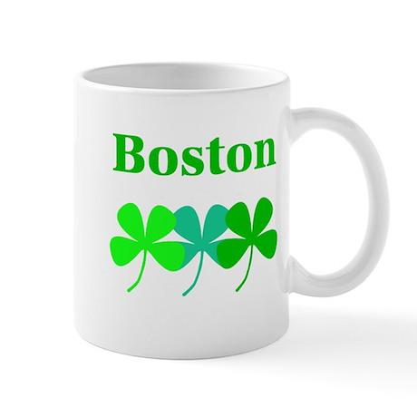 I Love Boston Green Hues Clovers Mug