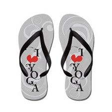 I Love (heart) Yoga Flip Flops