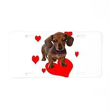 Love Dachshunds Aluminum License Plate