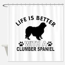 Clumber Spaniel vector designs Shower Curtain