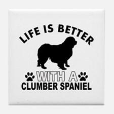 Clumber Spaniel vector designs Tile Coaster