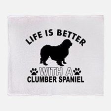 Clumber Spaniel vector designs Throw Blanket