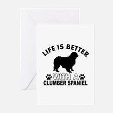 Clumber Spaniel vector designs Greeting Cards (Pk