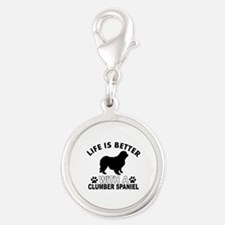 Clumber Spaniel vector designs Silver Round Charm