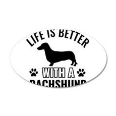 Daschund vector 20x12 Oval Wall Decal