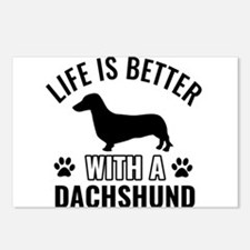 Daschund vector Postcards (Package of 8)