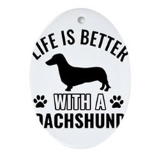 Daschund vector Ornament (Oval)