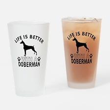 Doberman vector designs Drinking Glass