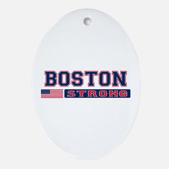 BOSTON STRONG U.S. Flag Ornament (Oval)
