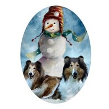 Rough Collie Christmas Gifts Oval Ornament
