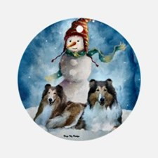 Rough Collie Christmas Gifts Ornament (Round)