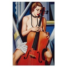 Woman with Cello Poster