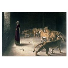 Daniel in the Lions Den, mezzotint Framed Print