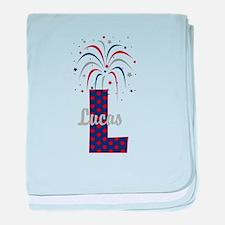 4th of July Fireworks letter L baby blanket