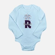 4th of July Fireworks letter R Body Suit
