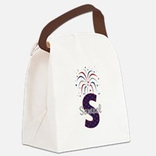 4th of July Fireworks letter S Canvas Lunch Bag