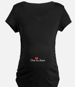 DueinJuneHeartWHT Maternity T-Shirt