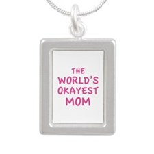 The World's Okayest Mom Silver Portrait Necklace