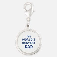 The World's Okayest Dad Silver Round Charm