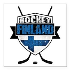 "Suomi Finland Hockey Shield Square Car Magnet 3"" x"