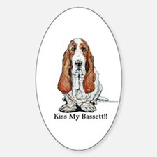 Bassett Hound Kiss Oval Decal