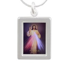 Divine Mercy Gold Silver Portrait Necklace