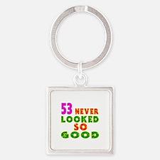 53 Birthday Designs Square Keychain
