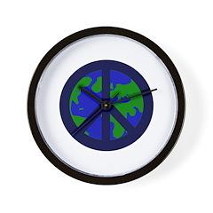 Earth Peace Sign Wall Clock
