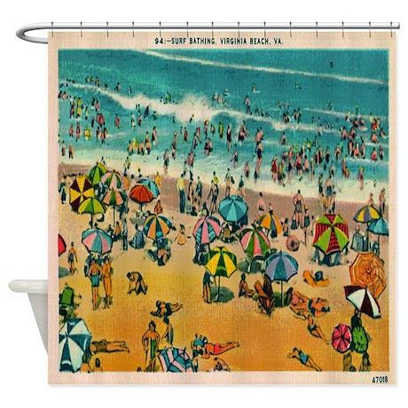 Delightful Vintage Virginia Beach Postcard Shower Curtain