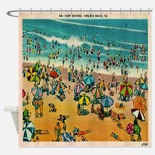 Vintage Virginia Beach Postcard Shower Curtain
