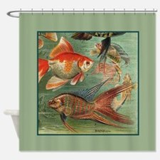 Vintage Colorful Tropical Fish Shower Curtain