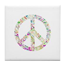 Graffiti Peace Sign Tile Coaster