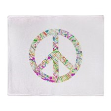 Graffiti Peace Sign Throw Blanket