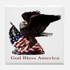 God Bless America Eagle Tile Coaster