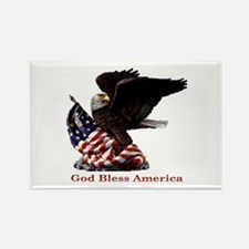 God Bless America Eagle Rectangle Magnet